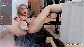 Blonde girl dildoing orgasm too much