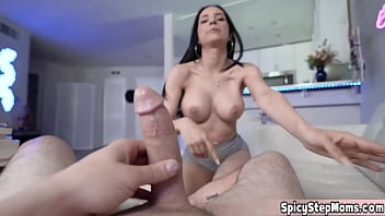 Pretty faced brunette MILF stepmother POV blowjob