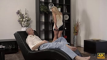 OLD4K. After nice fingering chick is ready for sex with mature lover