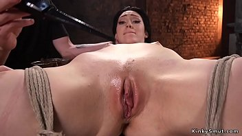 Babe_in_hogtie shaved_pussy zappered