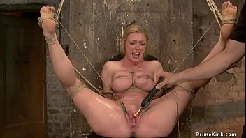 Hogtied and gagged busty MILF
