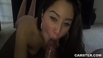 Latina swallowing cum from big black dick POV