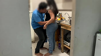I fuck my sister in the kitchen, she's angry because her husband sent her to wash the dishes, I put my cock in her pussy and in her mouth and the asshole of the husband watches television and doesn't even notice 5 min