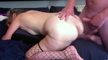 Gilf Wife doggy style fuck big cumshot on her fat ass