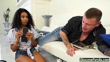 Ebony step daughter fucks her drunk dad