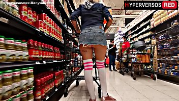 Flashing in the supermarket miniskirt,upskirt