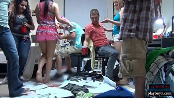 Wild orgy party with horny college teens in a dorm room
