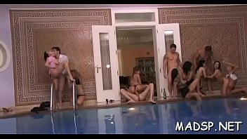 Hung guy bonks all the girls at an unexpected sex party