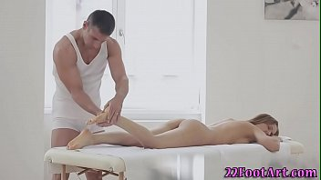Babe foot tugging cock