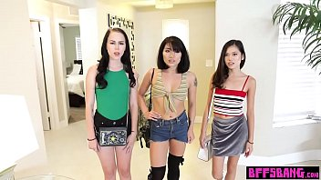 Perverted painter fucked his three asian teen muses