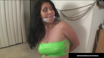 In Debt Diva Samantha Grace Stopped, Bound & Made To Pay Her Debts!
