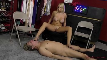 Hot Blonde Dominates a Customer In the Store - Vanessa Cage - Femdom