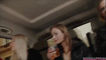 Three Sexy Chicks Took Horny Guy On The Streets And Fuck With Him In Their Red Fuck Bus