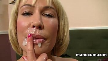Big boobed MILF giving tugjob in POV and taking a jizz shot