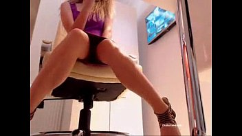 Blonde Secretary Fingering Herself In Office For First Time On Cam