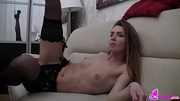 Brunette In Heels Plays With Her Pussy