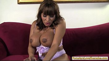 Huge tits milf screwed by sexy tranny