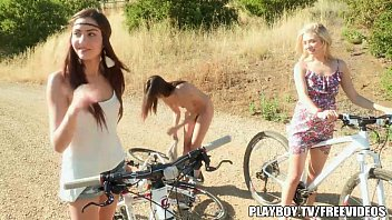 Three sexy lesbians have sex outdoors