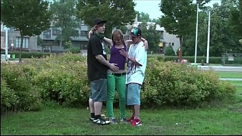 y. hottie Alexis Crystal PUBLIC gang bang threesome with 2 guys 14 min