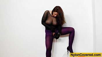 Nylon masked blowjob - Huge titties cutie in nylon mask and full body nylon suit