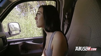 Brunette hitchhiker is subdued into taking a big dark cock in her pussy