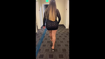 Streaming Video Having fun wearing a see through short dress in hotel public areas - XLXX.video