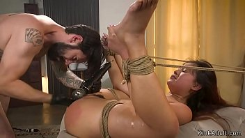 Bound Asian slave is rough banged