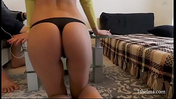 Home lockdown. Horny wife don't let her husband to work. Amateur couple