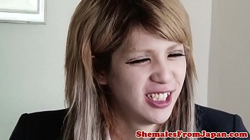 Japanese tranny facialized after analfucking