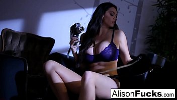 Alison Tyler gets out of her purple lingerie