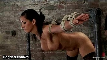 Busty babe bound flogged and vibed and face sprayed with cum