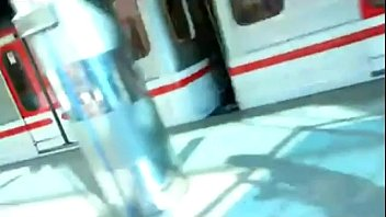 Man touch woman under dress in train