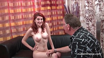 Busty french redhead babe deep anal fucked with cum on ass for her casting couch