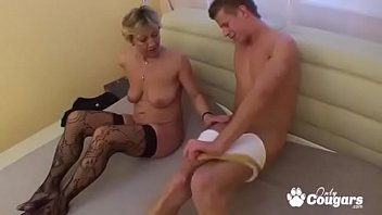 Old Cougar Lets A Young Man Fuck Her Doggystyle