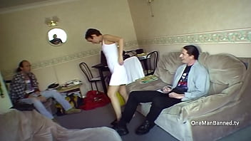 Nancy in short dress and high heels ready for arse fucking