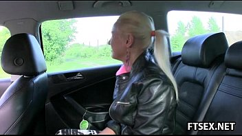 Blonde babe gets creampied in a taxi