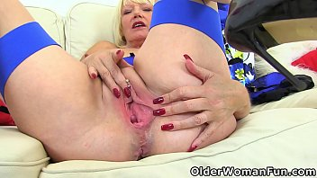 UK gilf Amy's blue dress matches her sexy lingerie just like her gorgeous boobs match her lovely fanny (brand NEW video available in Full HD 1080P). Bonus video: English milf Molly Maracas.