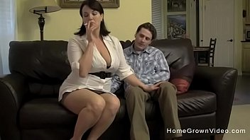 Sexy mom with big boobs gets fucked while she smokes a cigarette