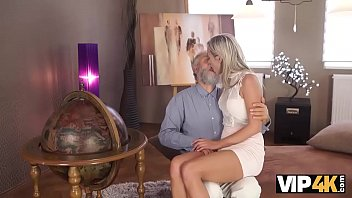 VIP4K. Old dad spends wonderful time with adorable blonde girl 9 min