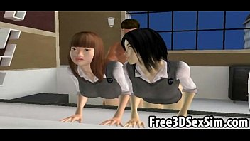 Two sexy 3D cartoon asian babes sucking and fucking