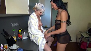 Mature young omen - Oldnanny nice threesome, young couple is dealt with mature