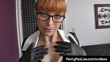 Red Head Vinyl Nurse Penny Pax makes house call & fucks & sucks her patient Alex Legend! Penny's Payment? Cum All over her Glasses, Face & Hot Boobs!
