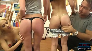 Green body paint teen - Teen with good ass fucked hard for money in body paint class