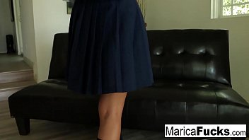 Schoolgirl Marica walks through the house before masturbating