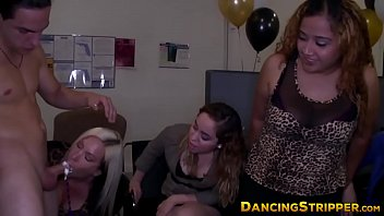 Wild women with strippers Wild cfnm party with amateurs sucking and fucking a stripper