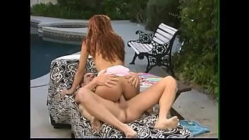 Mature dude goes young Asian nympho Aliyah Likit with red hair along Hershey highway at the poolside 20 min