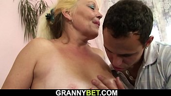 Hairy-pussy old blonde granny rides his dick