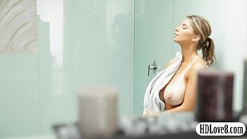 Big natural tits babe banged real good after taking a shower