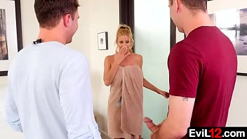 With her husband out of town, this busty stepmom is easy to persuade into an illicit threesome with young stepson and his buddy