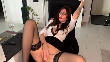 Sexy MILF Secretary with Glasses Cums Watching Porn